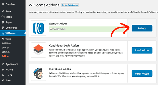 Activate AWeber addon