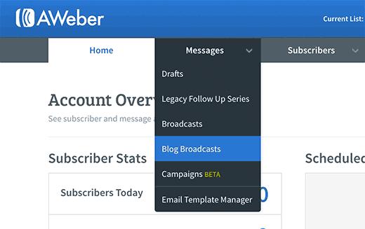 AWeber blog broadcasts