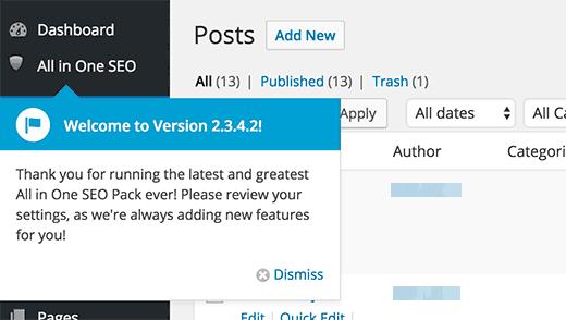 All in One SEO menu item in WordPress