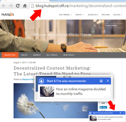 Content Hijacking Example