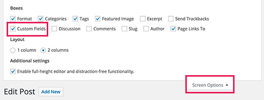 Show custom fields meta box on the post edit screen in WordPress