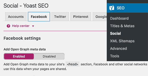Yoast SEO Facebook open graph meta data