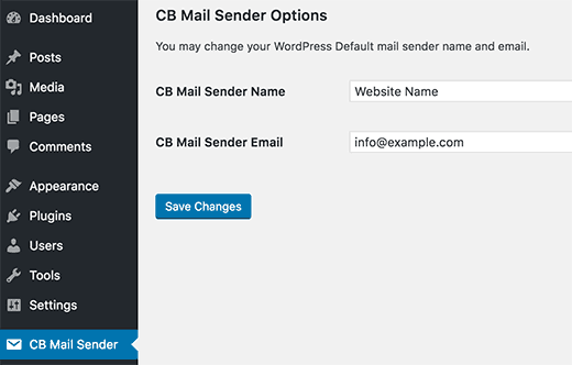 Mail sender options