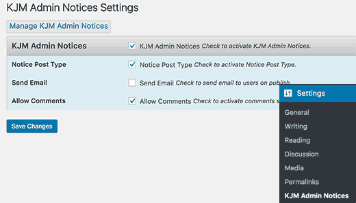 KJM Admin Notices settings