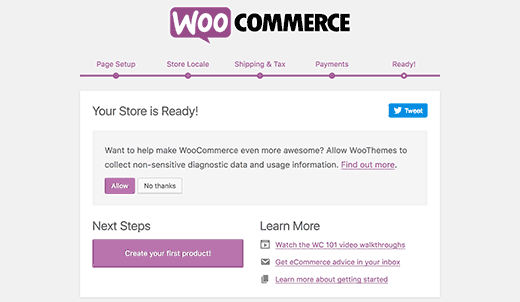 WooCommerce setup finished