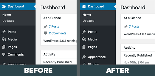 Comment section removed from WordPress admin area