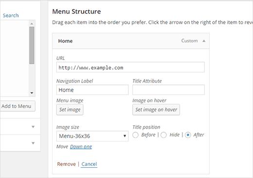 Adding image to a menu item in WordPress
