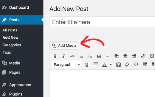 Tải lên hình ảnh khi chỉnh sửa bài đăng hoặc trang trong WordPress