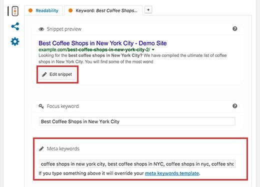 Thêm từ khóa meta trong Yoast SEO cho WordPress