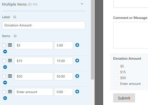customizing the multiple item donation amounts