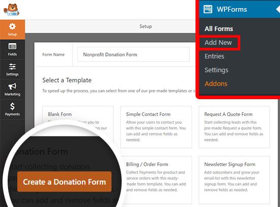 create a new wordpress donation form