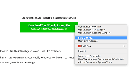Download your Weebly export file