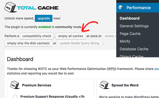 Empty cache in W3 Total Cache