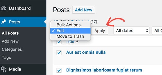 Bulk edit all selected posts