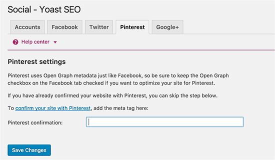 Yoast WordPress SEO plugin - Social settings for Pinterest