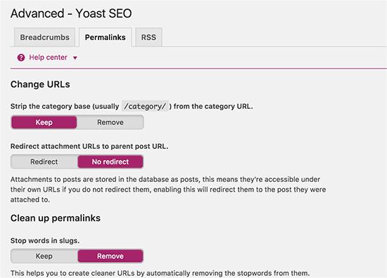 Permalink related settings in WordPress SEO Plugin