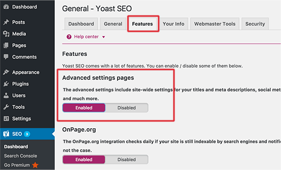 Aktifkan halaman setingan lanjutan untuk Yoast SEO