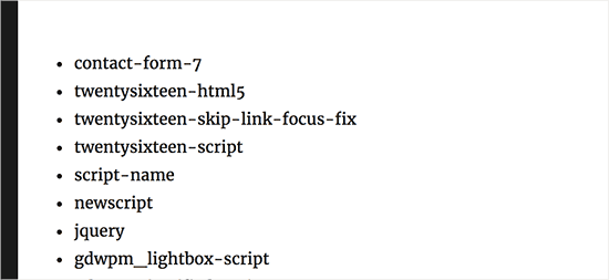 Display a list of plugin script handles in WordPress