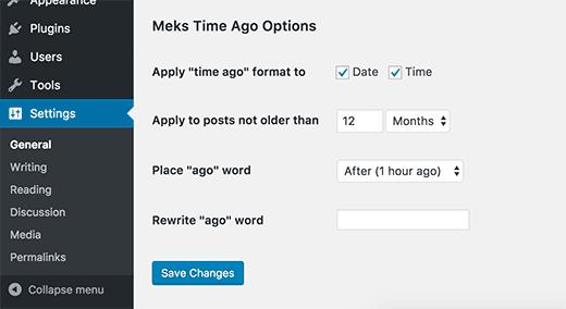 Meks Time Ago plugin settings