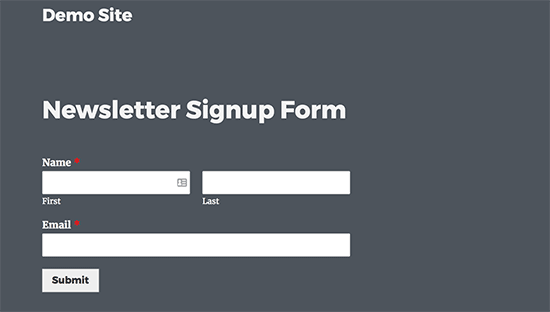 AWeber form on a WordPress page