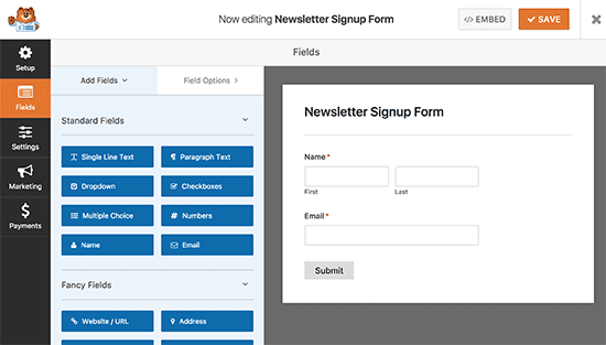Editing your newsletter signup form