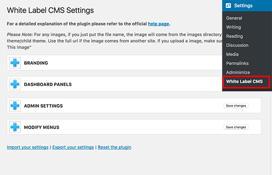 White Label CMS settings