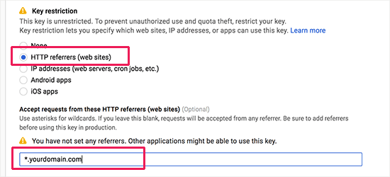 Restrict API key