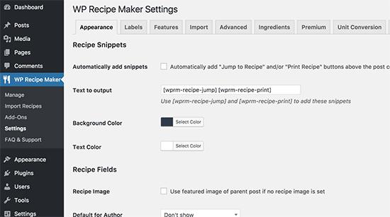 Pengaturan WP Recipe Maker