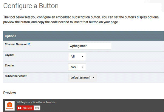 Configuration Button