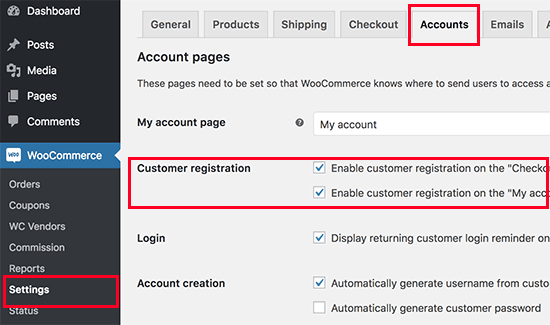 Enable customer registration in WooCommerce