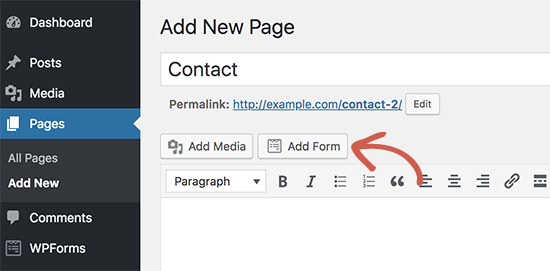 Add form to your contact page