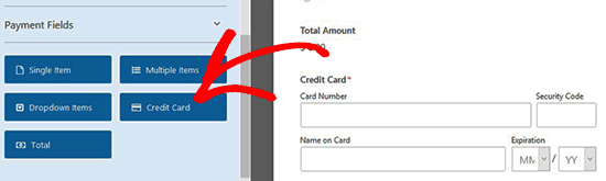 Add a credit card field to the form