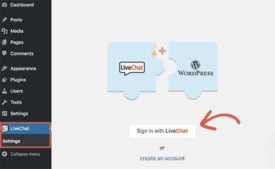 Conecte o Live Chat ao seu site WordPress