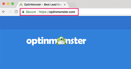 Address bar showing secure sign and https