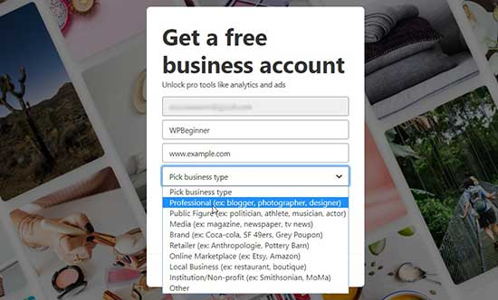 Add business information on Pinterest