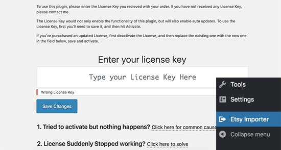 Etsy importer license key
