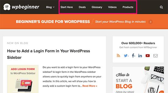 Non-blog content on a blog website