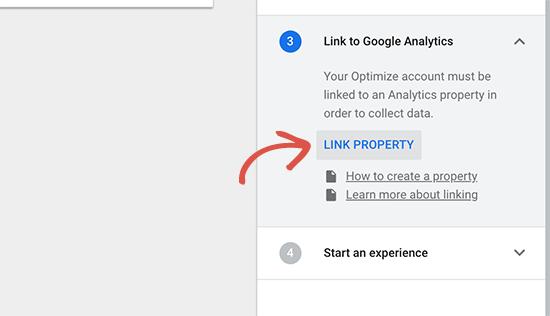 Link Google Analytics property