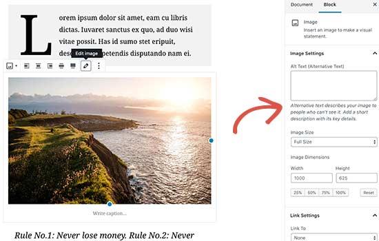 Image block settings