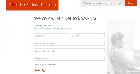 Office 365 signup