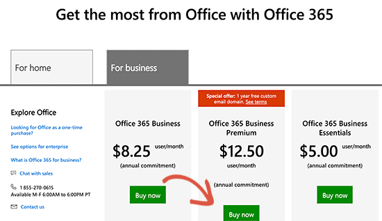 Sign up for Office 365 Business premium