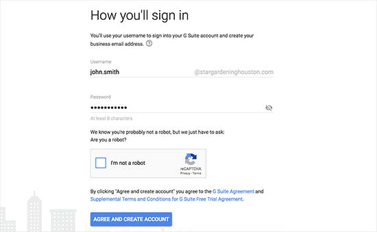 Create your first G Suite user account