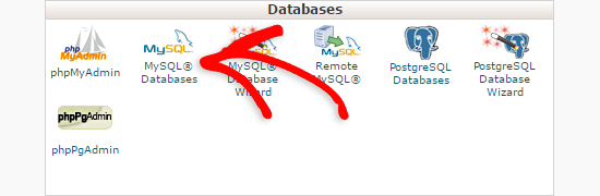 Database section in cpanel