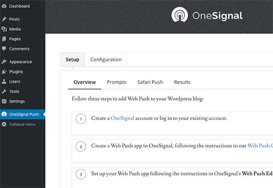 OneSignal settings page
