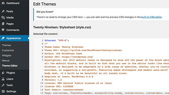 Desative a edição de arquivos no WordPress