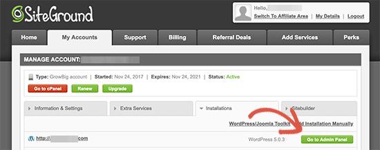 Visit WordPress admin panel