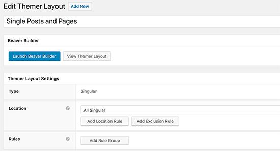 Singular layout settings