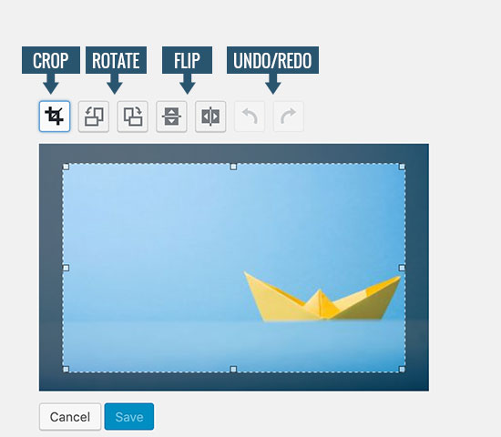 Image toolbar buttons