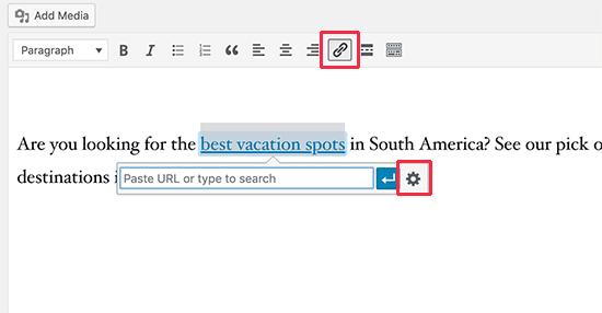 Добавить новую ссылку в классическом редакторе