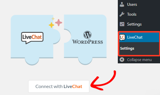 Connect with LiveChat Inc account